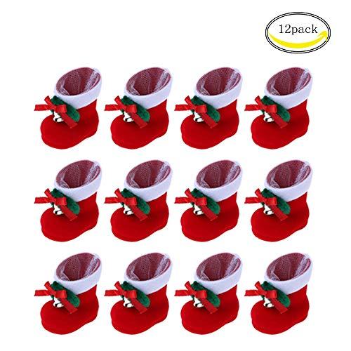 CHBOP 12 x Nikolausstiefel zum Befüllen und Aufhängen Weihnachts Stiefelchen Weihnachten Dekoration Geschenktüten mit Klingel