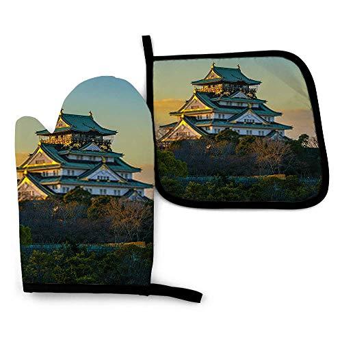 Nifdhkw increíble Imagen de la Puesta de Sol del Castillo de Osaka JGloves-Mitones para Horno y Porta ollas con poliéster Impermeable