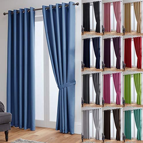 John Aird Eyelet Thermal Energy Saving Blackout Curtains + Free Tie Backs (Blue, 168cm Width x 183cm Drop (66'x72')