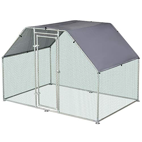 PawHut 110' Chicken Coop Galvanized Metal Hen House Large Rabbit Hutch Poultry Cage Pen Backyard with Cover, Walk-in Pen Run