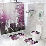 Badezimmer Duschvorhang-Set, Morbuy Badezimmer Anti-Rutsch-WC-Vorleger+Deckel WC-Abdeckung+Badematte für Küche Dusche & Toilette Tierdruck (Rosa Einhorn,4-teiliges Set)