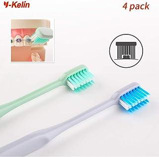 Y-Kelin - Cepillo de dientes ortodoncico en forma de U, 4 colores (4 paquetes)