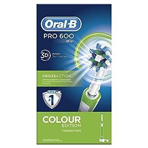Oral-B PRO 600 CrossAction, Cepillo de dientes eléctrico recargable con tecnología Braun, edición verde