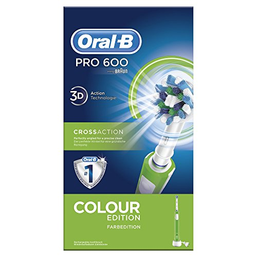 Oral-B PRO 600 CrossAction, Cepillo de dientes eléctrico recargable con tecnología Braun,...