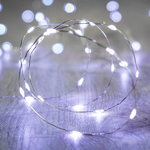 LED Fairy String Lights,ANJAYLIA 16.5Ft/5M 50leds Bright Light Party Home Festival Decorations Battery Operated Lights(White)