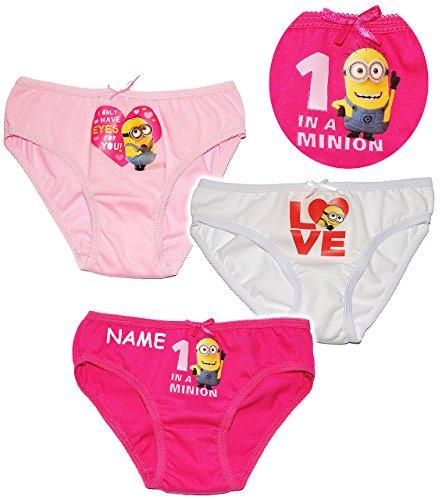 alles-meine.de GmbH 3 TLG. Slip / Unterhosen -  Minions - Ich einfach unverbesserlich  - incl. Name -Größe 6 bis 8 Jahre - Gr. 122 bis 134 - 100 % Baumwolle - Mädchenslip / UNT..