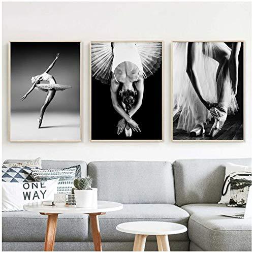 LangGe Imprime imágenes de Estilo nórdico, Bailarina de Ballet, póster, Pintura Negra más Blanca, Lienzo, Arte de Pared para el hogar Fresco, decoración de la Sala de Estar