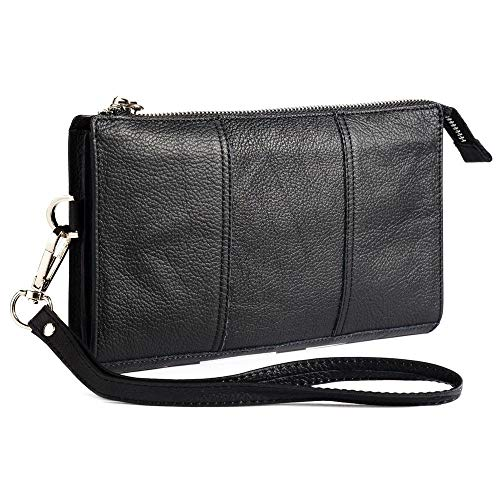DFV mobile - Genuine Leather Case Handbag for Huawei Ascend G300, G300 - Black