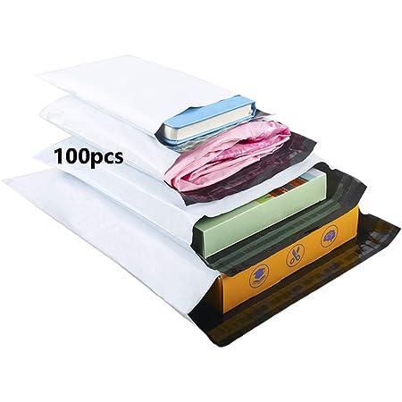 HVDHYY Buste per Spedizione di Plastica Miste 100pezzi C5 A4 B4 A3 Busta da Imballaggio Vestiti Borse Postali Sacchetti Spedizionidi Bianca Autoadesive Anti-manomissione Impermeabile