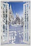 Wallario Wandbild mit Fenster-Illusion: Wanderweg im Schnee in Premiumqualität mit weißem Rahmen, Größe: 61 x 91,5 cm