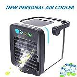Persönlicher Luftkühler Tragbarer Klimaanlage/Luftfeuchter/Reiniger/Spray zur Aromatherapie 4 in 1 Verdampfungskühler, USB Mini Luftkühler mit 7 Farben LED Licht Perfekt für Schlafzimmer/Reisen/Büro