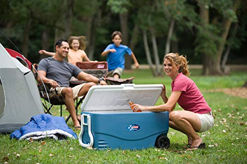 Product Image 1: Coleman 100-Quart Xtreme 5-Day Heavy-Duty Cooler with Wheels, Blue