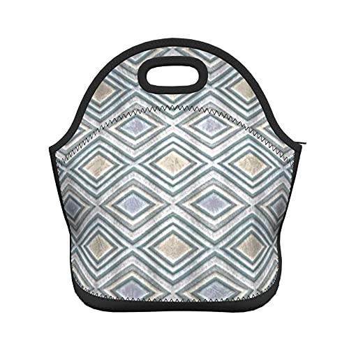 ADONINELP Bolsa de almuerzo con aislamiento para mujeres y hombres, patrón geométrico de textura, bolso de mano resistente al agua con aislamiento térmico