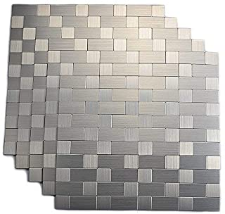 Yipscazo Peel and Stick Tile Backsplash, Stainless Steel Stick on Tile for Kitchen Wall
