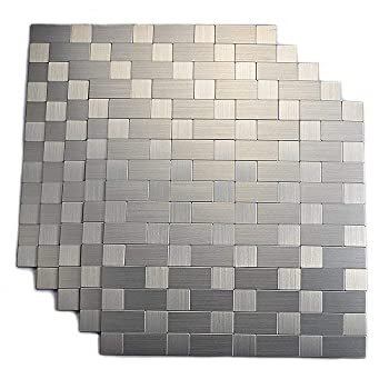 Yipscazo Peel and Stick Tile Backsplash Stainless Steel Stick on Tile for Kitchen Wall