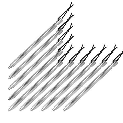 BB Sport 10er Set Trekking Erdnägel Zeltheringe aus Aluminium Y-Profil Länge 18 cm leicht - nur 15 g je Stück; für gemischte, Harte und steinige Böden, Farbe:Silber