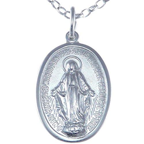 Medalla Pulida de Plata de Ley de la Virgen Milagrosa, con Cadena 18 pulgadas - 20 mm.