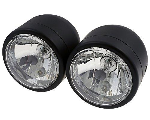 Scheinwerfer Set Doppelscheinwerfer, schwarz, Birnen 2x H4 12V 55/60W, Motorrad