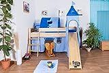 Kinderbett/Hochbett Tom mit Rutsche und Turm inkl. Rollrost - Material: Buche massiv natur, Farbe: klar lackiert