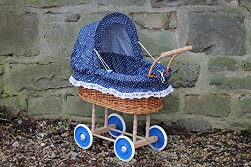 Bukora ® Puppenwagen aus Weide mit Blau mit Punkten und Holzgriff...extra stabil...