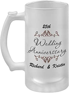 Personalized Custom Brown 25th Anniversary Frame Frosted Glass Stein Beer Mug