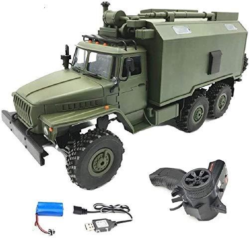 WGFGXQ 2.4G RC camión Militar Coche de Juguete simulación a Escala 1/16 de 6 Ruedas motrices Rock Crawler Gran camión de construcción de Metal Resistente para niños Halloween