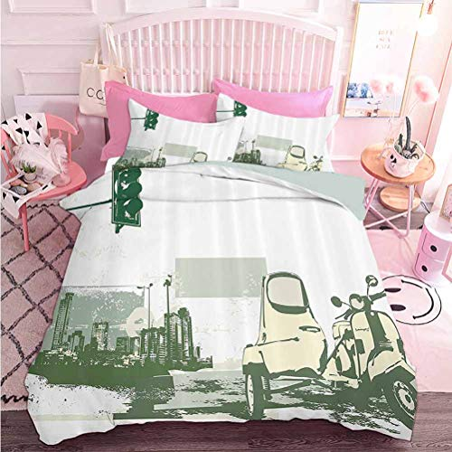 Hiiiman Juego de ropa de cama de 3 piezas con ilustración vectorial de Scooter vintage en el fondo de Grunge (3 piezas, tamaño King) Juego de edredón con 2 fundas de almohada