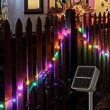 Solar Lichterkette Außen, 14M 120 LEDs Lichterketten Aussen, Wasserdicht mit 8 Leuchtmodis Lichterkette für Balkon, Gartendeko, Bäume, Terrasse, Hochzeiten, Weihnachtsbeleuchtung (Bunt)