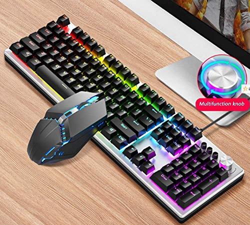 Baibao Robotic - Juego de teclado y ratón USB con cable para juegos retro, color negro