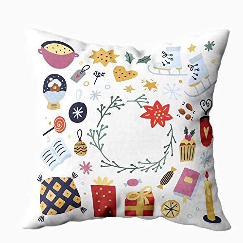 Jacrane Christmas Pillow Covers,16X16 Inch Winter Elements White Background Cute Cozy Interior Objects Decoration Christmas Greeting Cards Home Decor Decorations for Sofa Couch Bed Chair