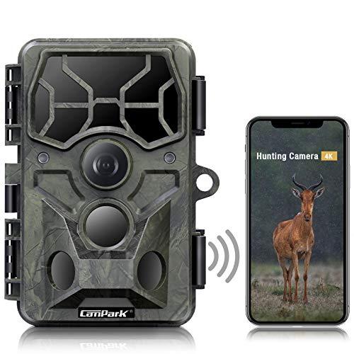 Campark WLAN Wildkamera 4K 30MP Bluetooth Jagdkamera mit Infrarot Nachtsicht Bewegungsmelder Wasserdicht IP66 für Wildtierüberwachung mit 120° Weitwinkel