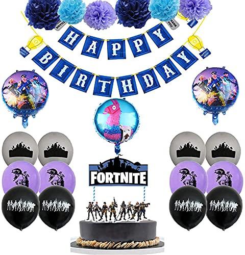 FGen Artículos de Fiestas para Fanáticos de los Videojuegos, Decoraciones para Cumpleaños de Tema de Videojuegos, con Flores de Papel, Pancartas, Globo, Adorno de Torta(23 PCS)