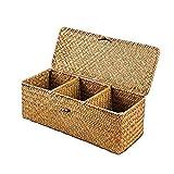 ECSWP Tessuto Mano di bambù Desktop di Storage Carrello Tavolo Snack Cestino di Vimini 3 Griglie Cosmetici Jewelry Box Home Organizer