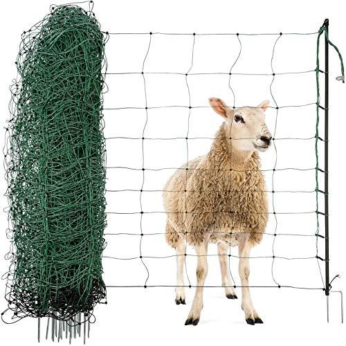 Agrarzone Schafnetz Schafzaun mit Strom grün 50m x 90cm | elektrisches Weidezaun-Netz mit Doppelspitze & Pfähle | Schutzzaun für Schaf Ziege Lämmer | Elektro-Zaun Geflügelzaun Ziegenzaun Schafzäune