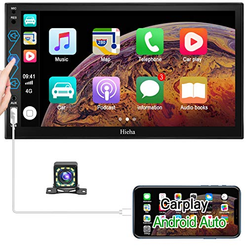 Double Din Car Stereo Hieha 7 Inch Car Audio Receiver HD Touch Screen Compatible with Apple Carplay/Android Auto Including Reversing Backup Rear Camera Radio Bluetooth Mirror Link