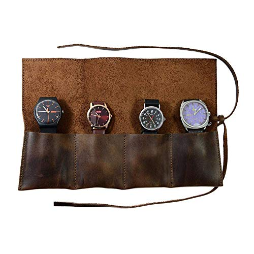Minear Schmuckrolle Leder Uhrenrolle Notizblock Seil handgefertigt Leder rustikale Schmuckrollen Veranstalter tragbare Reise Schmuck Lagerung