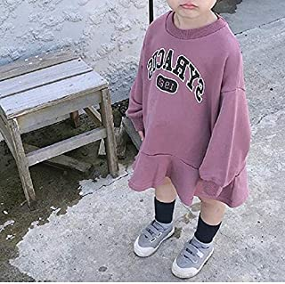 Kids Clothing Autumn Girls Loose Letter Long Sleeve Skirt Shirt, Suggest Height:Size15(120-130cm)(Pink) Boys Clothing (Color : Purple)