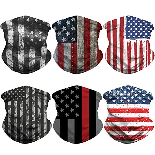 Flag Neck Gaiter Face Mask Dust for Men Women Sun UV Protection Cool Bandana Washable Reusable Face Scarf Fishing Hunting Cycling Sports(6 Pack)