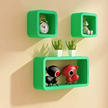 Wood Decor City Square Shape Floating Wall Shelves for Living Room and Home Decoration - (Set of Shelves - 3, Green)