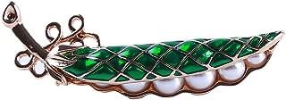 Yunzee Pea Pod Brooch Artificial Pearl Temperament Suit Collar Needle Coat Accessory Chest Pins Cute Cartoon Pattern