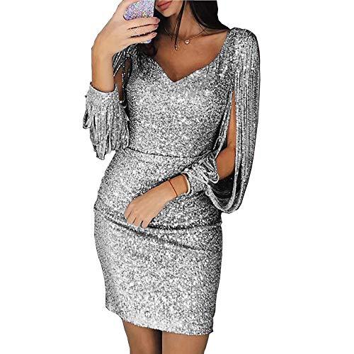 Vestido longo feminino Laize com decote em V, franjas, lantejoulas, vestido longo com fenda, Cinza, XL