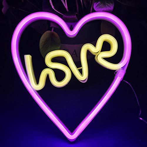 Bipily Luci al neon Insegne luminose al neon LED Applique da parete al neon Batteria USB artistica neon decorazione per Natale Matrimonio Party