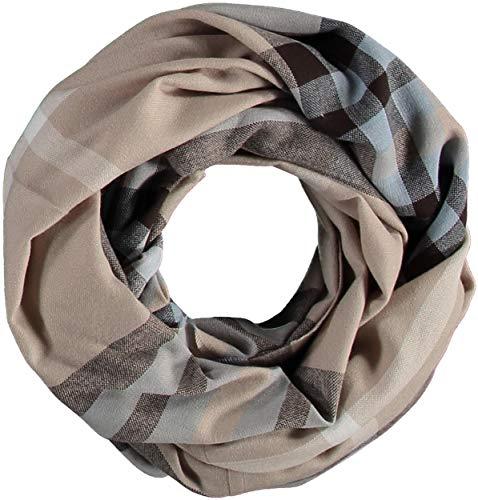 FRAAS Damen Loop-Schal Kariert - 60 x 78 cm Größe - Made in Germany - Stilvoller Schlauch-Schal mit Karo-Muster - Leichtes Rund-Tuch - Karierter Snood-Schal - The Plaid Creme