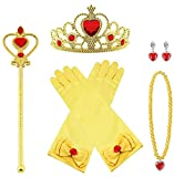 Vicloon Princesa Vestir Accesorios, 7 Pcs Amarillo Elsa Princesa Accesorios de Disfraces, Regalo Conjunto de Belleza - Corona Anillo Sceptre Collar Pendientes Guantes para Niña