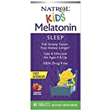Natrol Kids Melatonin Fast Dissolve Tablets, Helps You Fall Asleep Faster, Stay Asleep Longer, Easy to Take, Dissolves in Mouth, for Ages 4 and Up, Strawberry Flavor, 1mg, 40 Count