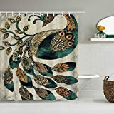 DAHALLAR Duschvorhang,Cyan Brown Schönes Muster Feder Pfau,personalisierte Deko Badezimmer Vorhang,mit Haken,180 * 210