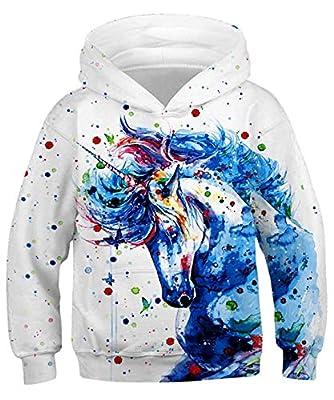 ALISISTER Niño Niña Hoodies Pintura 3D Unicornio Digital Hoody Pullover Sudadera con Capucha Casual Party Jumper con Capucha Outwear Camisa Tops L