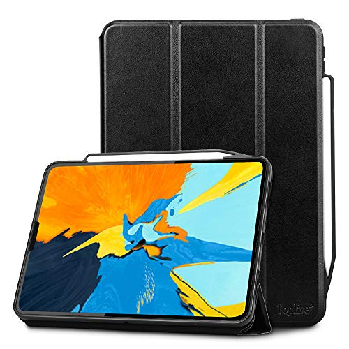 Toplive Luxury Cowhide Genuine Leather iPad Pro 11 Case (2018), [Support Apple Pencil Charging],Smart Stand Folio Case Cover for Apple iPad Pro 11 inch 2018 with Auto Sleep Wake Function,Black