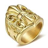 BOBIJOO Jewelry - Bague Chevalière Fleur de Lys Doré Or Plaqué Croix Malte Anneau Templier Acier Inoxydable 316L Lis - 63 (10 US), Doré Or Fin - Acier Inoxydable 316