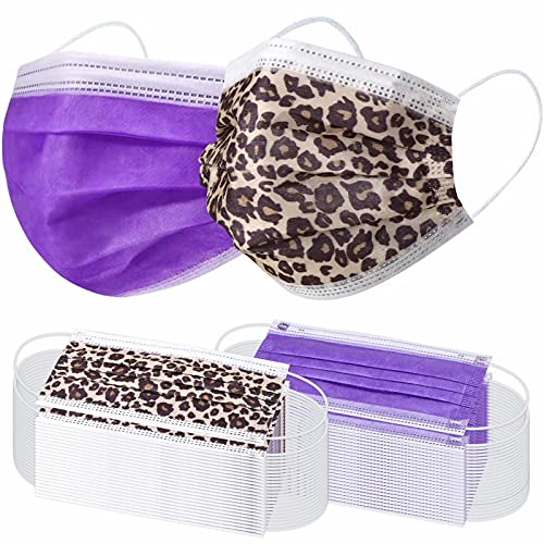 100 Pcs Disposable Face Masks - 3-layer Breathable Safety Masks, Comfortable Protective Mouth Cover with Nose Clip and Ear Loops,for Home, School, Office and Outdoors (Leopard & Purple)